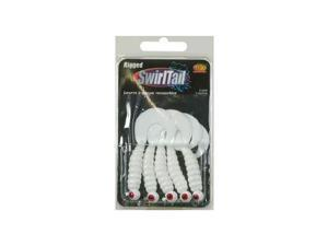 Apex J518-WHT Rigged Swirltail Jig Head Grubs 1/8 OZ White 5 Pack