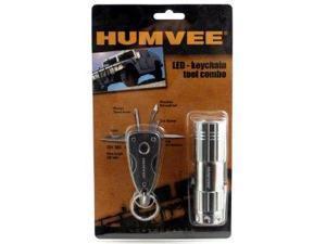 Humvee HMV-CP-6GRY 9-Bulb LED Flashlight and Keychain Tool Set (Piece of 2, Silver) HMVKC6GRY
