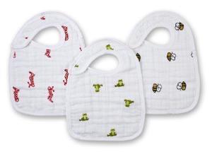 aden + anais 3 Count 100% Cotton Muslin Snap Bib, Mod About Baby 7103 ADEN + ANAIS