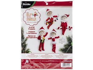 BUCILLA 86506 Plaid Scout Elf Felt Applique Ornaments Kit, 6-Inch by 4-Inch 107410 Bucilla