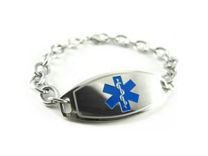 Stroke Patient Medical Alert Bracelet, Blue, O-Link Chain, PRE-ENGRAVED