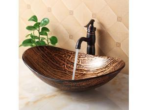 Elite Golden Amber w Dark Brown Tree Bark Pattern Bathroom Vessel Boat Shaped Oval Bowl Bottom Sink w Matching Textured Underside and Oil Rubbed Bronze Pop-up Drain and Mounting Ring - 1212+P01008ORB