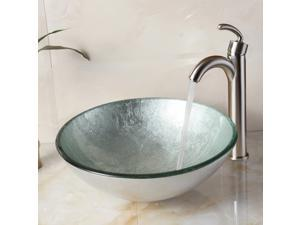 Elite Silver Hand Painted Foil Pattern Bathroom Vessel Round Bowl Sink w/ Matching Color Textured Underside and Brushed Nickel Pop-up Drain and Mounting Ring - 1308+P01008BN
