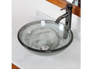 Elite Double Layered Transparent Tempered Glass Bowl Vessel Sink with Smokey Grey Swirls and Chrome Pop-up Drain and Mounting Ring - 49N+P01008C