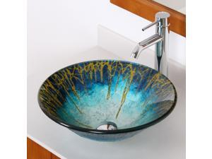 Elite Enchantment Handcrafted Glass Fanfare Bowl Vessel Bathroom Sink with Elite Tall Single Handle Lever Chrome Bathroom Faucet with Horizontal Dip Tip Spout - 1309+F371023C
