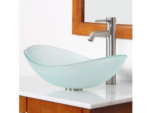 Elite Frosted Boat Shaped Double Layered Tempered Glass Bowl Bathroom Vessel Sink with Elite Tall Single Handle Lever Brushed Nickel Bathroom Faucet with Horizontal Dip Tip Spout - GD33F+F371023BN
