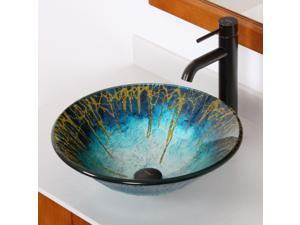 Elite Enchantment Handcrafted Glass Fanfare Bowl Vessel Bathroom Sink with Elite Tall Single Handle Lever Oil Rubbed Bronze Bathroom Faucet with Horizontal Dip Tip Spout - 1309+F371023ORB