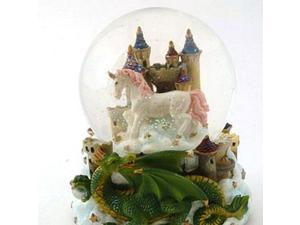 Musical Globe - Green Dragon With Castle-Unicorn by Cadona - CD36156A