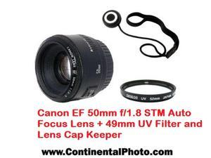 Canon EF 50mm f/1.8 STM Auto Focus Lens + 49mm UV Filter and Lens Cap Keeper