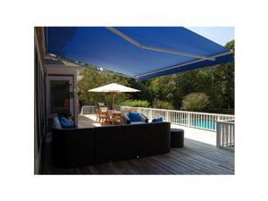 ALEKO RETRACTABLE AWNING 13FT X 10FT (4M X 2.5M) SOLID BLUE PATIO AWNING