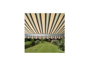ALEKO® Retractable 10' X 8' Patio Awning 10ft x 8ft (3m x 2.5m) Multistripe Green Color