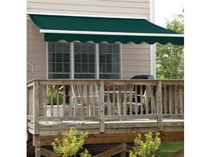 ALEKO RETRACTABLE AWNING 13FT X 10FT (4M X 2.5M) GREEN COLOR PATIO AWNING