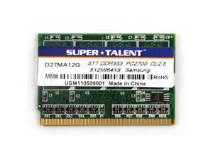 SUPER TALENT 512MB 172-Pin DDR MICRO DIMM DDR 333 (PC 2700) Laptop Memory Model D27MA12G