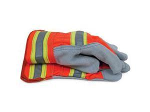 High Visibility Split Cowhide Leather Work Gloves  Large
