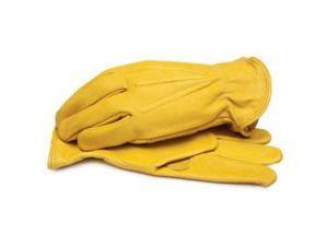 Grain Cowhide Leather Work Glove w/Shirred Elastic Wrist  Large
