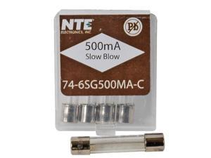 3AG - 6MM X 30MM Miniature Glass Slow-Blow 500mA Fuse (5-Pack)