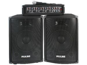 "Complete 150W PA System - 4CH Mixer and Two 10"" Speakers"