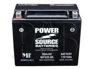 Power Source Batteries WPX20-BS (YTX20-BS, YTX20H-BS Replacement) Sealed Maintenance Free Battery 01-353 - 1 Year Manufacturer Warranty!
