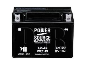 Power Source Batteries WPZ14S (YTZ14S Replacement) Sealed Maintenance Free Battery 01-344 - 1 Year Manufacturer Warranty!