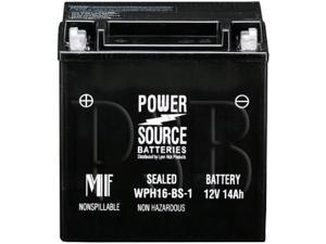 Power Source Batteries WPH16-BS-1 (YTX16BS-1 Replacement) Sealed Maintenance Free Battery 01-349 - 1 Year Manufacturer Warranty!