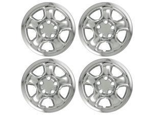 "Set of 4 17"" Chrome Wheel Skin Hub Covers w Center: 2002 - 2010 Dodge Ram 17x8 Inch 5 Lug Steel Rim -aftermarket: IMP/45X"