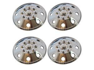 "4 Pc Set 16"" 8 Lug RV Stainless Steel Hub Cap Steel Wheel Rim Covers"