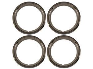 "Set of 4 Chrome Plated ABS Plastic 14"" Universal 1.75 inch Beauty Trim Rings 14P"