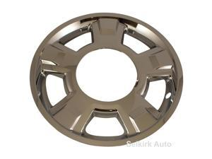 "6 New Chrome 17"" Wheel Skin Hub Caps for 2010 - 2012 Ford F150 w/ 5 spoke and center Cap cutout"