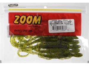 "Zoom Fishing Bait 033-051 8"" Super Salt+ Magnum Lizard Watermelon Chartruese"