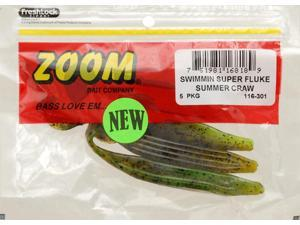 Zoom Soft Plastic Bass Fishing Bait 116-301 Swimmin Super Fluke 9 PK Summer Craw