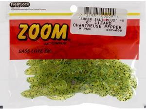 Zoom Bass Fishing Bait 002-009 Super Salt+ Lizard 9 PK Chartruese Purple