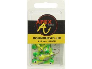 Apex Crappie Fishing AP18-10-2 Jig Heads 1/8 OZ 10 PK Chartruese/Green