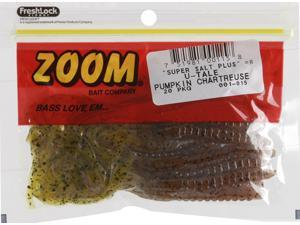 Zoom Bass Fishing Bait 001-015 Super Salt+ U-Tale 20 PK Pumpkin Chartruese