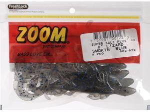 Zoom Soft Plastic Bass Fishing Bait 002-022 Super Salt+ Lizard 9 PK Smokin Black