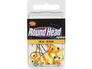 Apex RH18-1-10 Freshwater Round Jig Head 1/8 OZ Chartruese/Orange