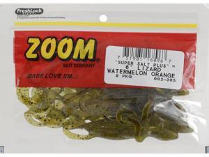 Zoom Bass Fishing Bait 002-305 Super Salt+ Lizard 9 PK Watermelon Orange