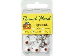 Apex Fishing RH38-5-8 Round Jig Head 3/8 OZ White 8 Pack