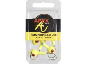 Apex Fishing RH38-3-8 Round Jig Head 3/8 OZ Chartruese 8 Pack