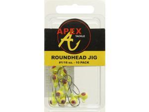 Apex Crappie Fishing AP116-10-3 Jig Heads 1/16 OZ 10 PK Chartruese