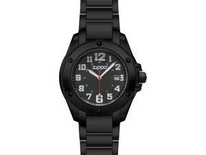 Zippo ZOZO45014 Dress Watch Black Dial White Logo Black Finish Bracelet Men's Si