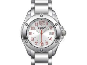 Zippo ZOZO45024 Dress Watch Silver Sunray Dial W/ White Luminous Hands & Red Acc