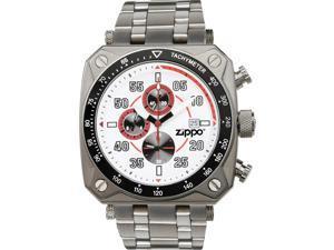 Zippo ZOZO45020 Men's Sport Watch White Dial Black Logo Polished Finish Bracelet