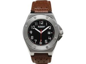 Zippo ZOZO45009 Men's Casual Bolted Look Watch Black Dial White Logo Brown Leath