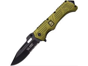 """US Army A1022GNC Standby Folding Knife 5.25"""" CLosed 4"""" Blade Olive Green Handle"""