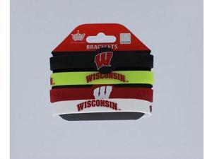NCAA CCPBC-283-19 Wisconsin Badgers Silicone/Rubber Bracelets Pack Of 4