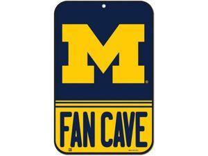 """NCAA 5022 Michigan Wolverines Plastic Fan Cave Sign 11"""" x 17"""""""