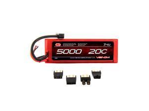 Venom 20C 2S 5000mAh 7.4 Hard Case LiPO Battery with Universal Plug System   Part No. 1555