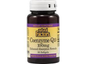 Coenzyme Q10 100mg In Base of Rice Bran Oil - Natural Factors - 30 - Softgel