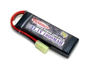 Tenergy LIPO 11.1V 1600mAh 20C Airsoft Battery Pack w/ Mini Tamiya Connector