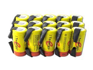 Tenergy Sub C 1.2V 2200mAh NiCd Flat Top Rechargeable Battery for Power Tools (w/ Tabs), 15 pieces